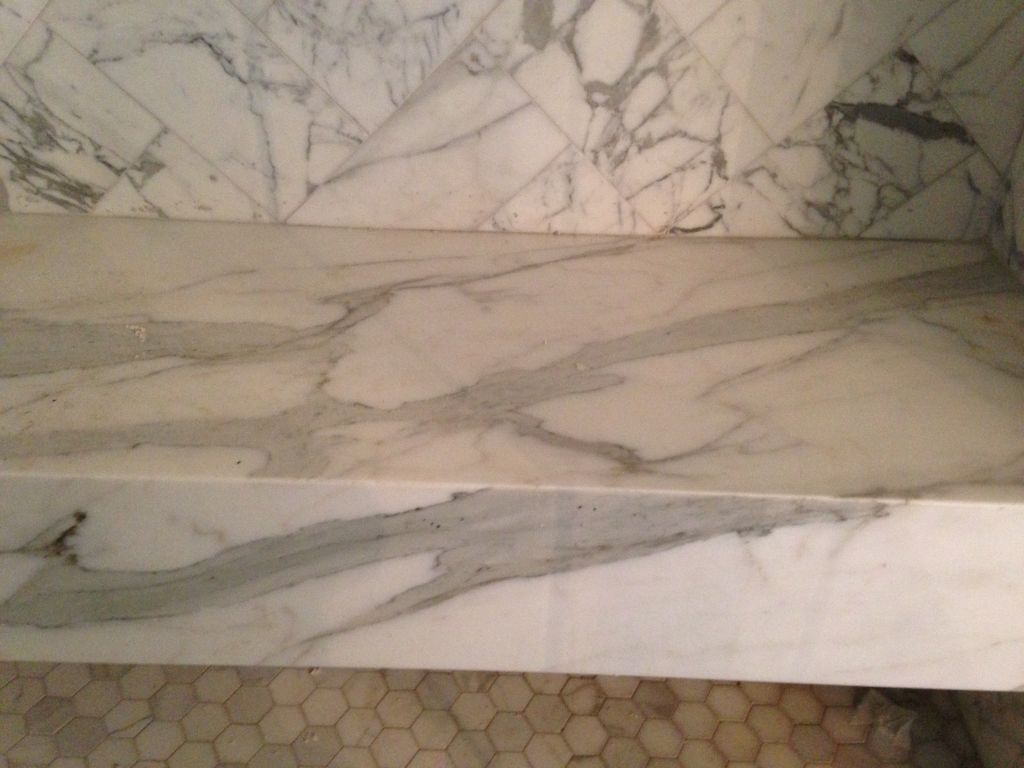 Calacatta White Exotic Marble Shower Seat with Skirt - Hesano Brothers