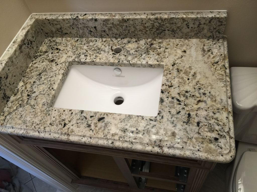 white fantasy premium granite bathroom vanity top with rectangular rh hesanogranite com 24 Bathroom Vanity with Sink Vanities for Small Bathrooms
