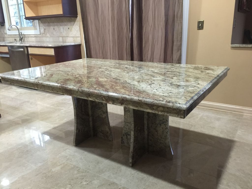 Typhone boaurdoux exotic granite table with granite bases - Table cuisine granit ...